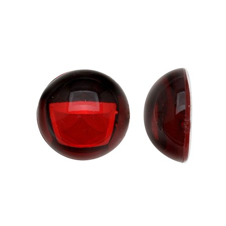 Vintage Lucite Plastic Round Domed Cabochon - Ruby Red / Foiled 13mm