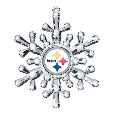 NFL Pittsburgh Steelers Traditional Snowflake Ornament, Cut Crystal Acrylic Snowflake By Boelter - Steeler Ornaments