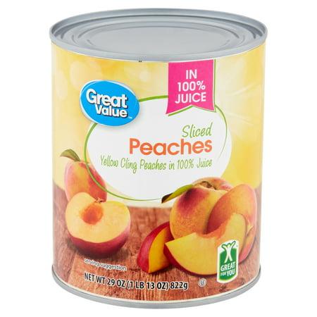 Great Value Sliced Peaches in 100% Juice, 29 oz - Walmart com