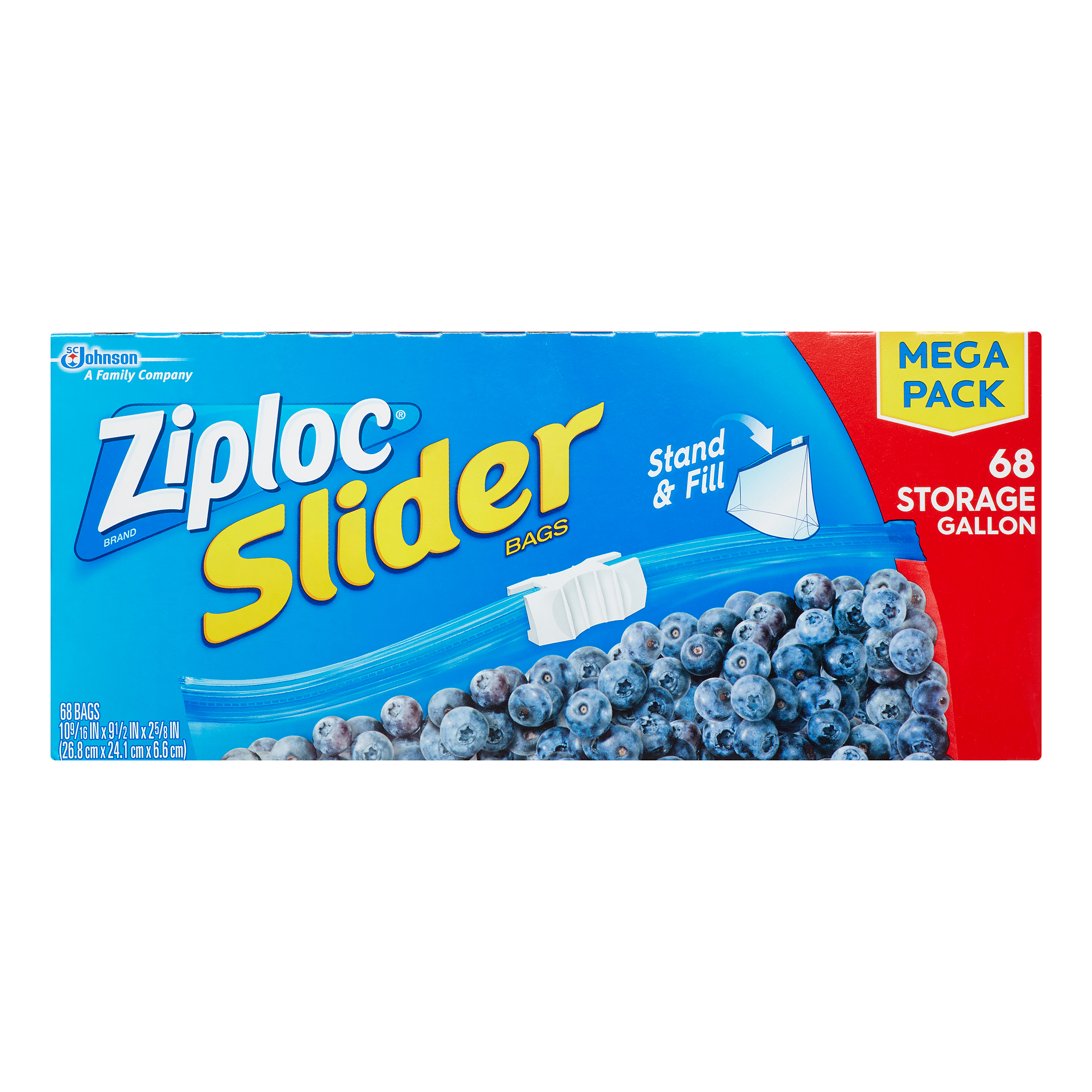 Ziploc Slider Storage Bags, Gallon, 68 Ct