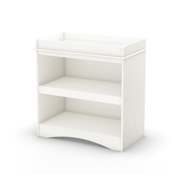 White Wood Baby Furniture Changing Table with Open Storage Space