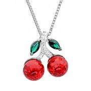 Sterling Silver Red Cherries Pendant-Necklace made with Swarovski Crystals
