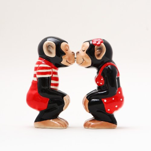 Chimps Ceramic Magnetic Salt and Pepper Shakers Collection Set