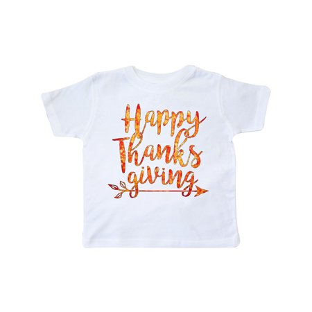 Happy Thanksgiving with leaf arrow in fall colors Toddler T-Shirt - Thanksgiving Colors