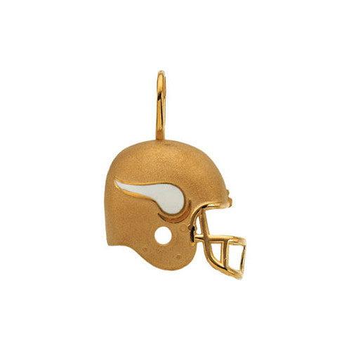 Jewelryweb 14k Gold Minnesota Vikings Helmet PendantEnamel 21.25 X 21