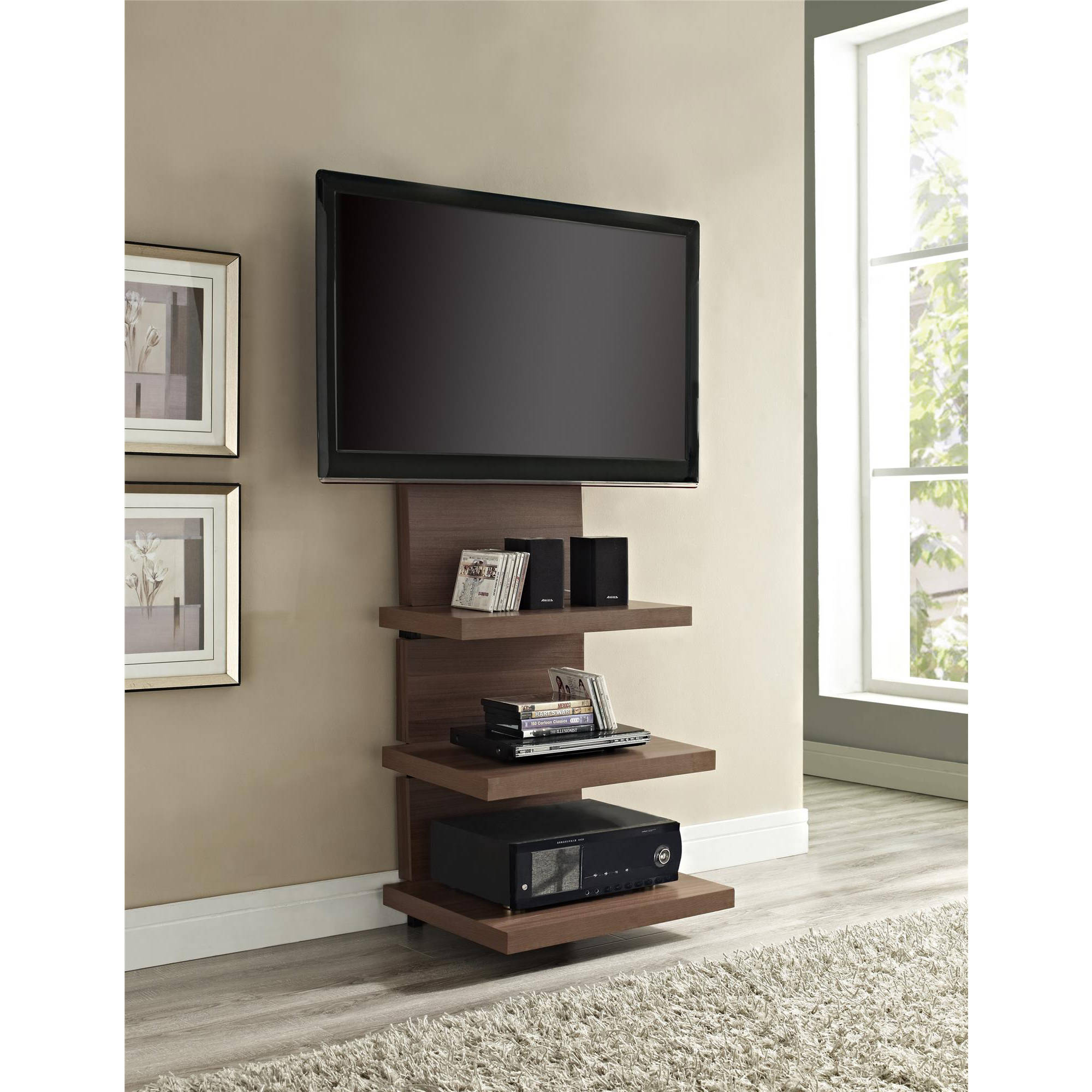 Wall Mount Black Espresso TV Stand with 3 Shelves, for TVs up to 60""