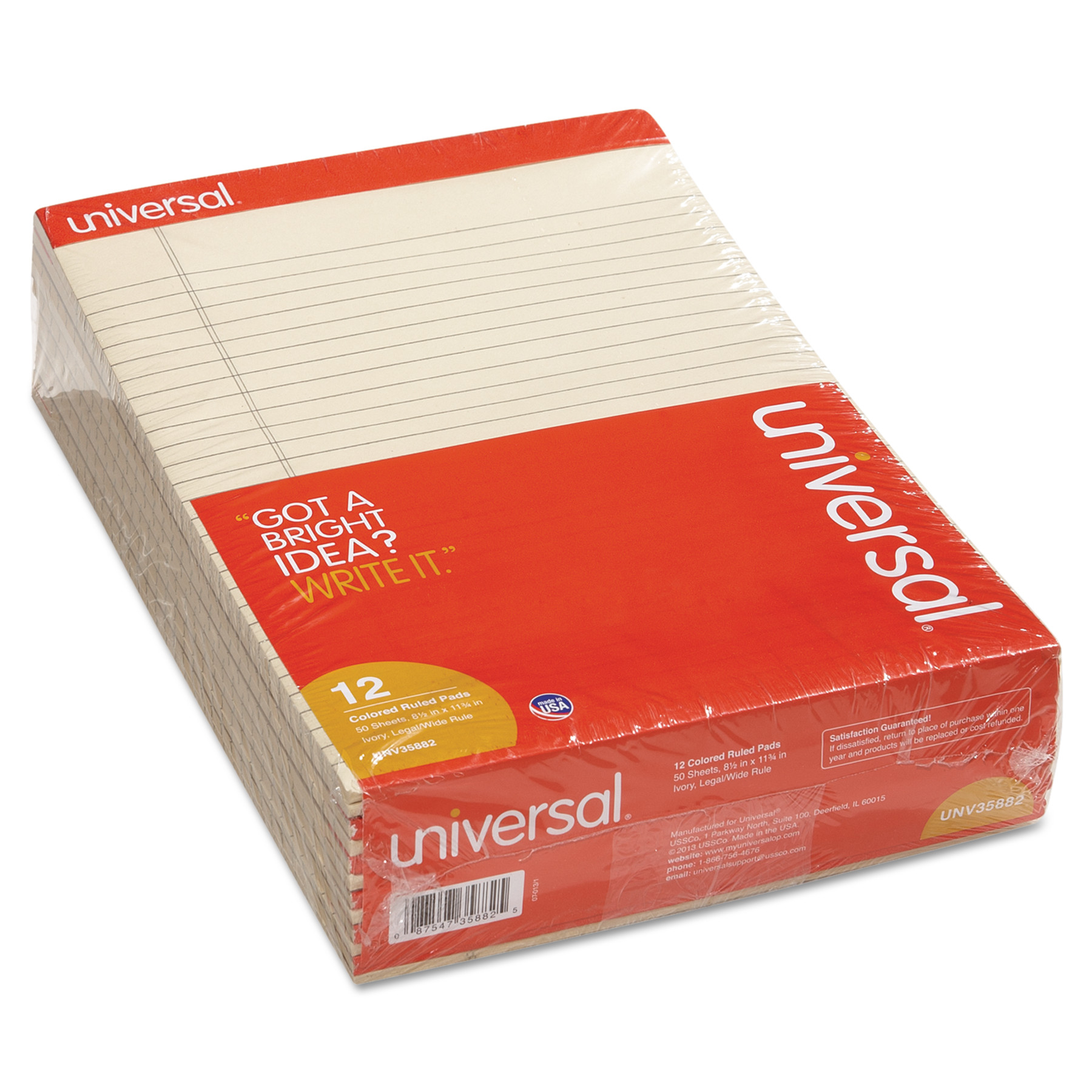 Universal Colored Perforated Ruled Writing Pad, Legal, 8 1/2 x 11 3/4, Ivory, 50 Sheets,DZ -UNV35882