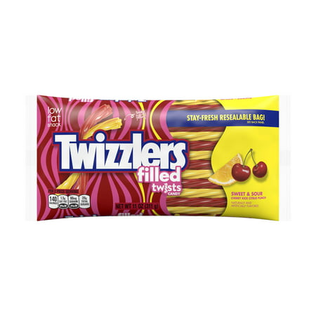 - Twizzlers Filled Sweet & Sour Cherry Kick Citrus Punch Twists, 11 Oz.