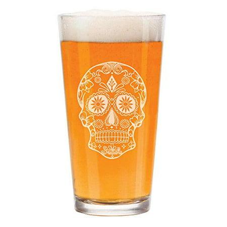 16 oz Beer Pint Glass Sugar Candy Skull (Sugar Skull Glasses)