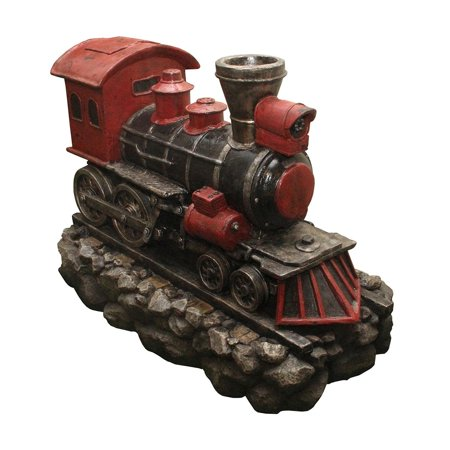 38  Led Lighted Red And Black Vintage Locomotive Train Spring Outdoor Garden Water Fountain