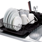 Home Basics 3-Piece Kitchen Sink Dish Drainer Set- Black