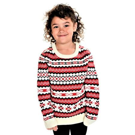 Fair Isle Christmas Sweater.Rwb Children S Holiday Fair Isle Nordic Christmas Sweater White Red