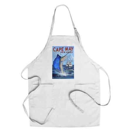 Cape May, New Jersey - Sailfish Deep Sea Fishing - Lantern Press Poster (Cotton/Polyester Chef's - Fishing Apron