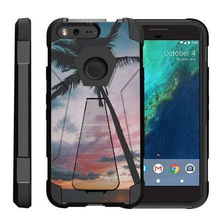 TurtleArmor ? | For Google Pixel [Dynamic Shell] Dual Layer Hybrid Silicone Hard Shell Kickstand Case - Palm Tree (Steampunk Google)