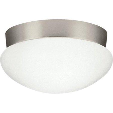 26 Watt Fluorescent Ceiling Fixture Brushed Nickel Etched Opal Glass