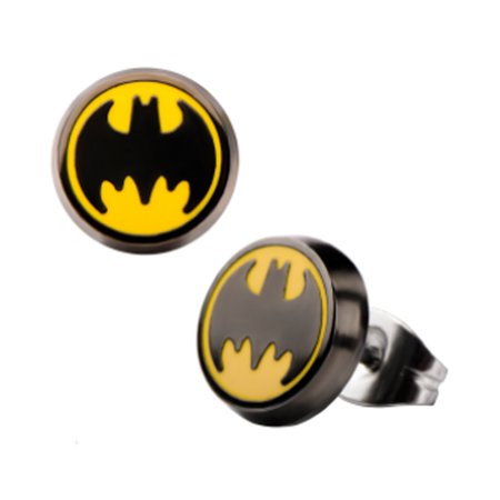 DC Licensed Batman Earrings Button Round White Finish Stainless Steel Kids Hero