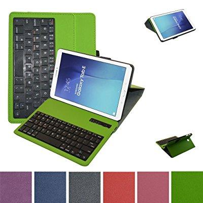 galaxy tab e 9.6 bluetooth keyboard case,mama mouth slim stand pu leather case cover with romovable bluetooth keyboard for samsung galaxy tab e 9.6 / e nook 9.6 t560 t561 t567 verizon 4g lte,green