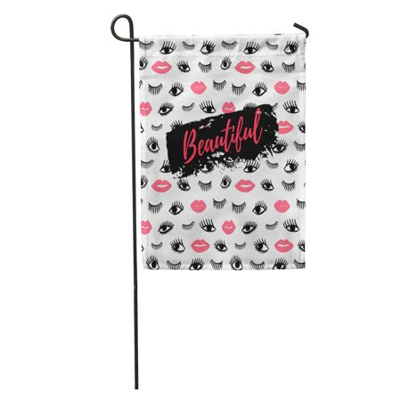 KDAGR Beautiful Eye Pink Lips Doodles in Retro Beauty of Open Garden Flag Decorative Flag House Banner 12x18 -