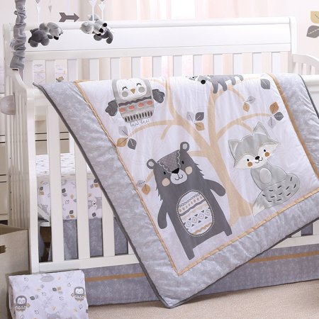 Woodland Friends 4 Piece Forest Animal Theme Baby Crib Bedding Set - Grey, Tan ()