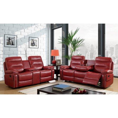 Furniture of America Gabriela 3-Piece Nailhead Trim Red Recliner ...