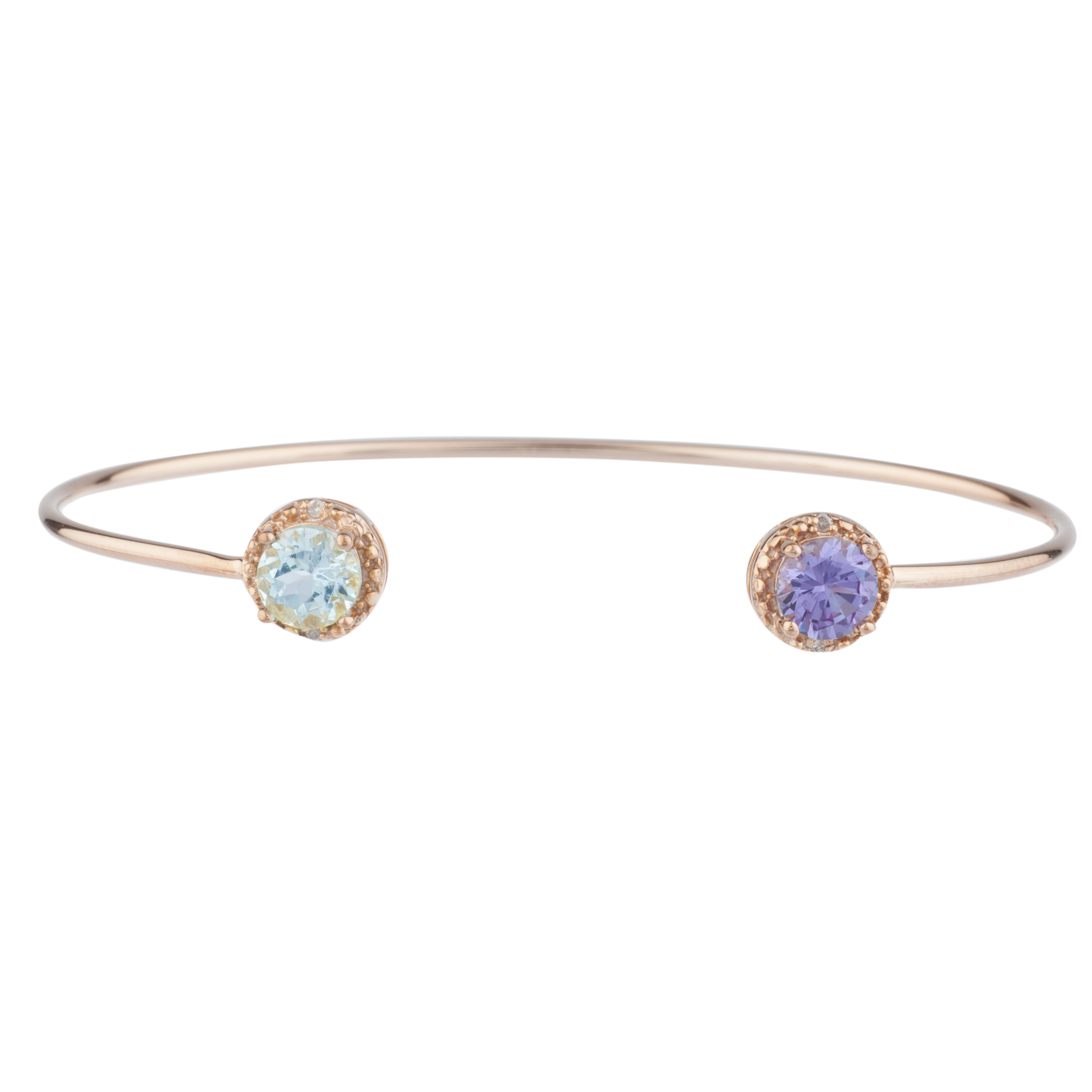 Genuine Aquamarine & Amethyst Diamond Bangle Round Bracelet 14Kt Rose Gold Plated Over .925 Sterling Silver by Elizabeth Jewelry Inc