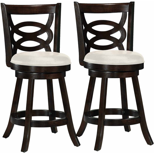 """CorLiving Woodgrove Scroll Back Design 38"""" Barstool with Leatherette Seat, Set of 2"""