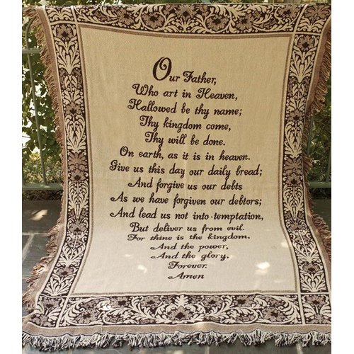 Manual Woodworkers & Weavers The Lords Prayer 2 Layer Cotton Throw