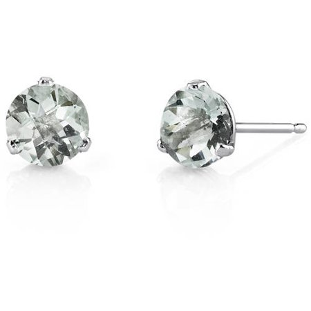 - 1.50 Carat T.G.W. Round-Cut Green Amethyst 14kt White Gold Stud Earrings