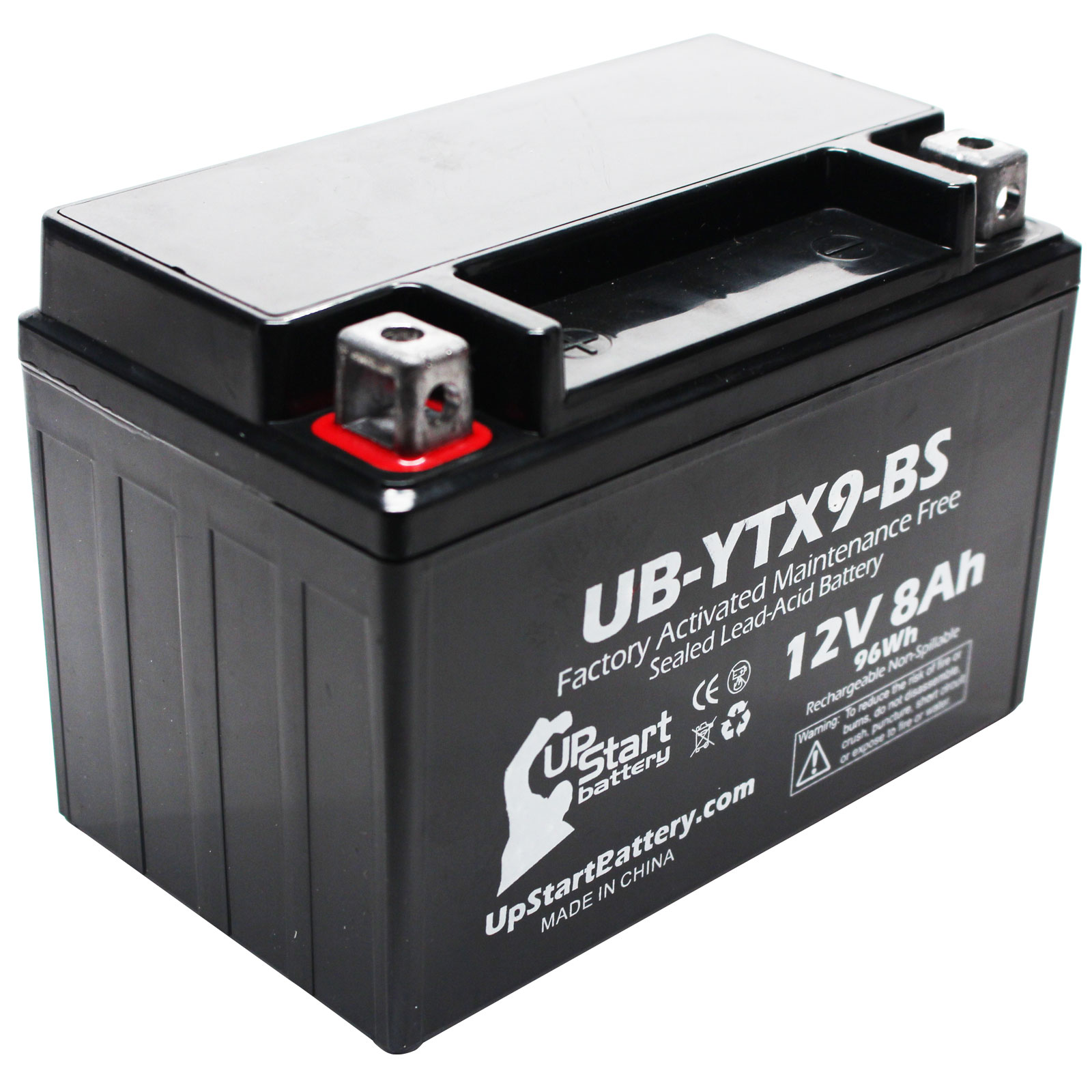 Replacement 2007 Kawasaki ZZR600 600CC Factory Activated, Maintenance Free, Motorcycle Battery - 12V, 8Ah, UB-YTX9-BS