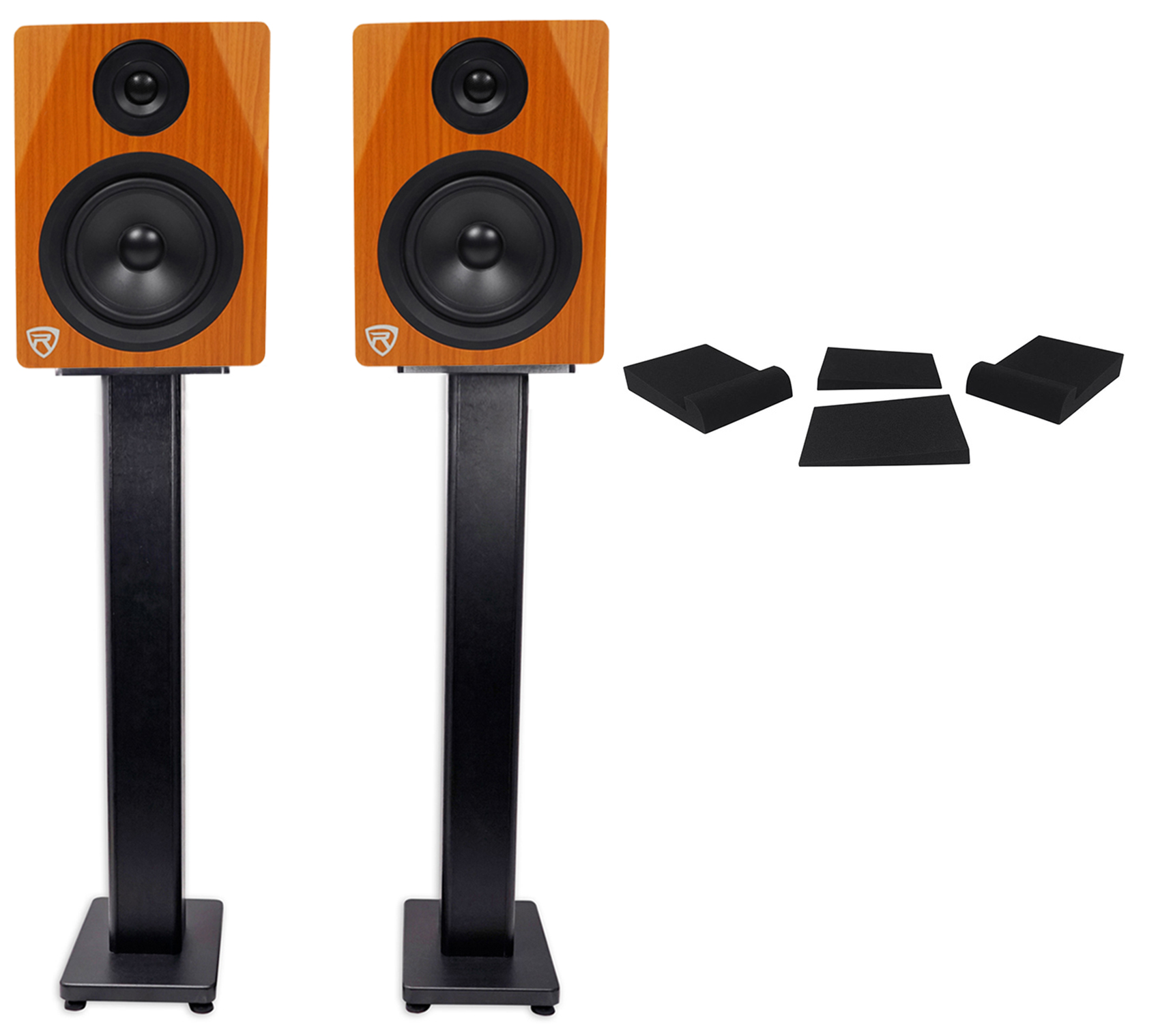 "(2) Rockville DPM5C Dual Powered 5.25"" 300w Active Studio Monitors+Stands+Pads by ROCKVILLE"