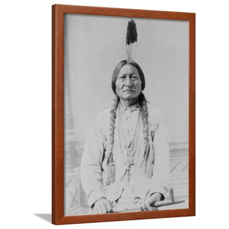 Sitting Bull Native American with Peace Pipe Photograph - Bismarck, ND Framed Print Wall Art By Lantern Press