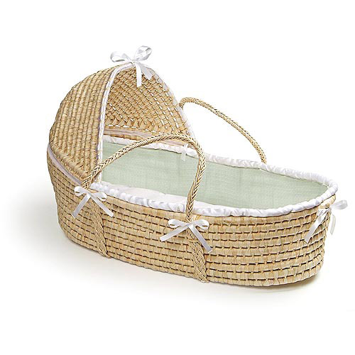 Badger Basket - Natural Hooded Moses Basket with Sage Waffle Bedding