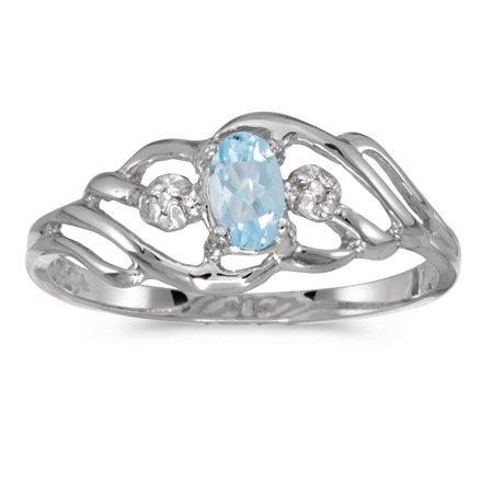 14k Gold Aquamarine Ring (14k White Gold Oval Aquamarine And Diamond Ring)