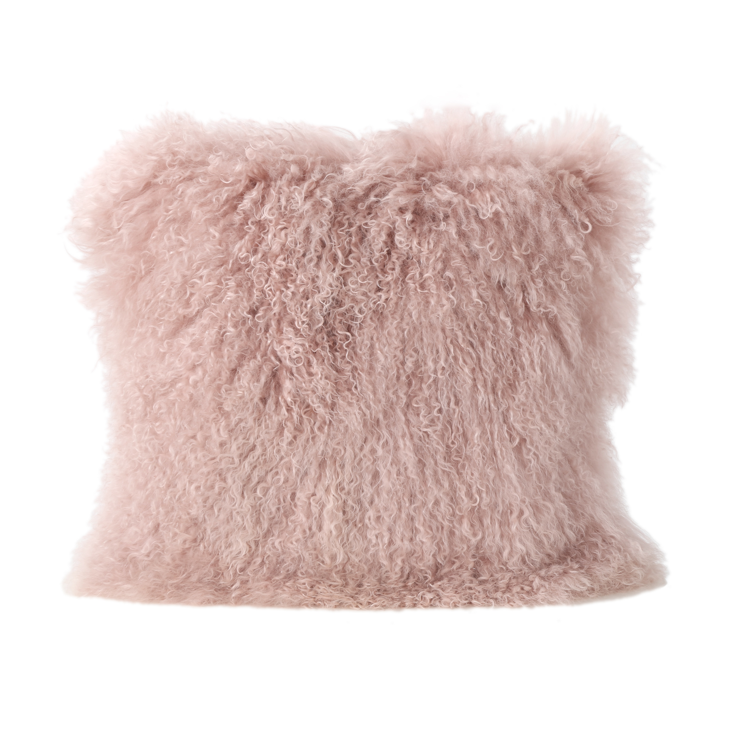 Marybelle Shaggy Lamb Fur 16 x 16 Square Pillow, Rose