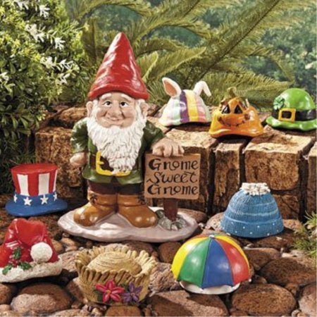 fun express gnome greeter collection garden accents with 9 interchangeile holiday seasonal hats - Garden Accents