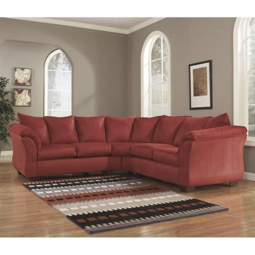 Ashley Darcy 2 Piece Fabric Corner Sectional in Salsa
