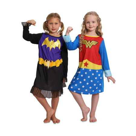 Two Person Halloween Costume Ideas (Super Heroes Wonder Woman and Batgirl 2 Girls Nightgowns Set, Heroes, Size:)