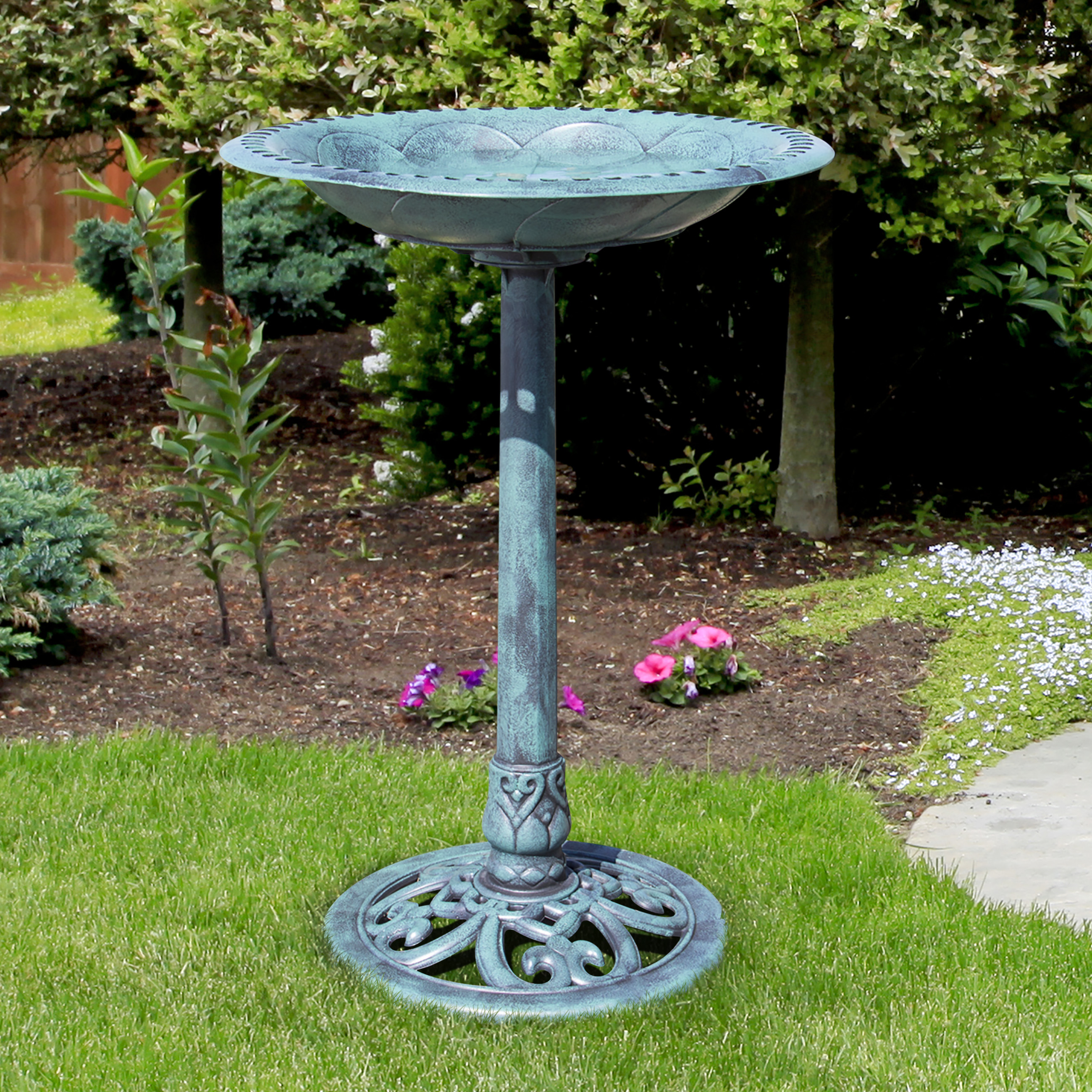 Best Choice Products Pedestal Bird Bath Garden Decor