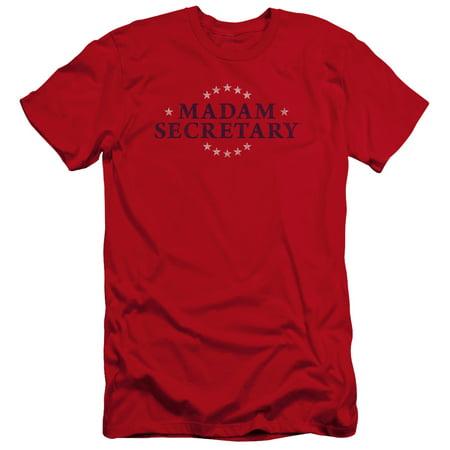 Madam Secretary Distress Logo Mens Premium Slim Fit Shirt