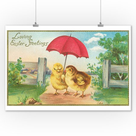Loving Easter Greetings Scene of Baby Chicks with Umbrella (9x12 Art Print, Wall Decor Travel Poster)