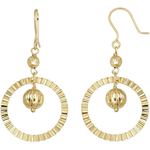 Simply Gold 10kt Yellow Gold Circle and Bead Center Drop Earrings