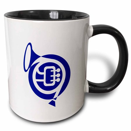 3dRose French horn stylized simple blue - Two Tone Black Mug, 11-ounce