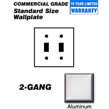 - Leviton 83009 Wallplate 2-Gang Toggle Standard Size Aluminum - Aluminum