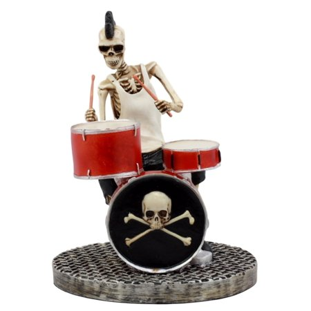 Ebros Day Of The Dead Skeleton Hell Rock Band Concert Figurine Underworld Entertainment Collectible (Band Drummer Rock)