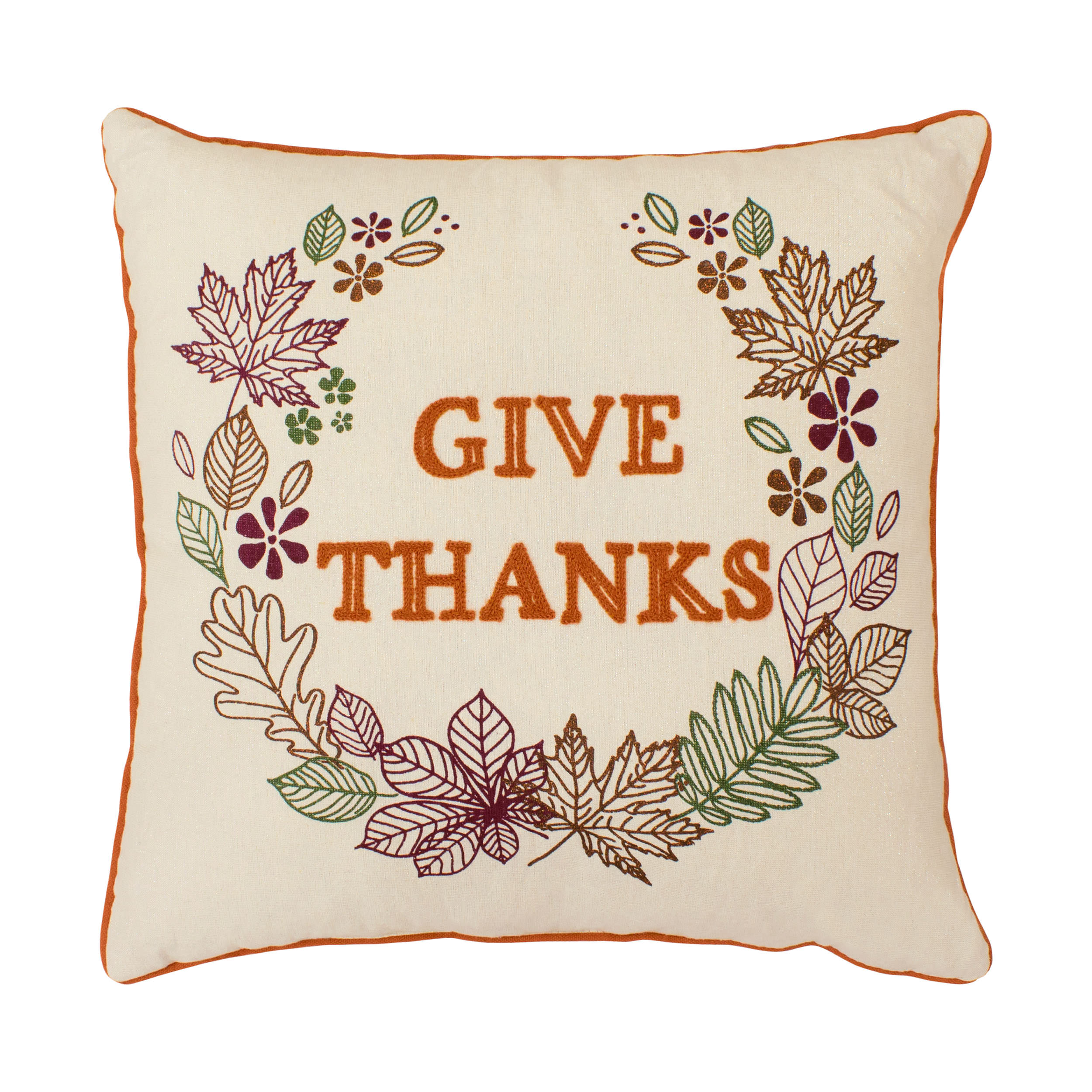 Give Thanks Embroidred Thanksgiving Pillow