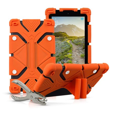 Universal 8 inch Tablet Case Flip Painted Leather Folio Stand Cover For iPad mini / Samsung Tab 8inch / Amazon Fire HD 8in Orange ()