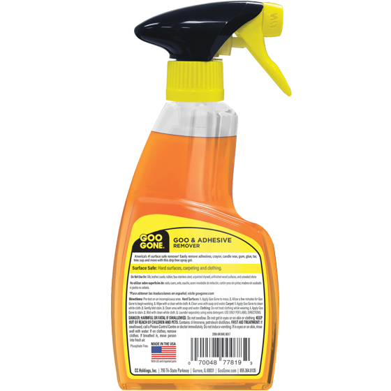 Goo Gone Original Spray Gel - Removes Chewing Gum, Grease, Tar, Stickers, Labels, Tape Residue, Oil, Blood, Lipstick, Mascara, Shoe polish, Crayon, etc.