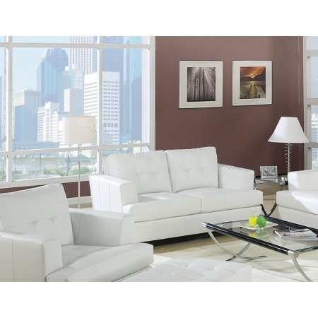 ACME Platinum Tufted Loveseat in White Bonded Leather ()
