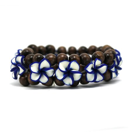 Hawaii FIMO Vibrant Stretch Wood Bead Plumeria CZ Luau Bracelet in White with Blue Edge (Plumeria Flower Diamond Bracelet)