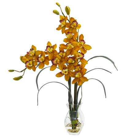 Nearly Natural Double Cymbidium Orchid in Vase Artificial - Potted Cymbidium Orchids